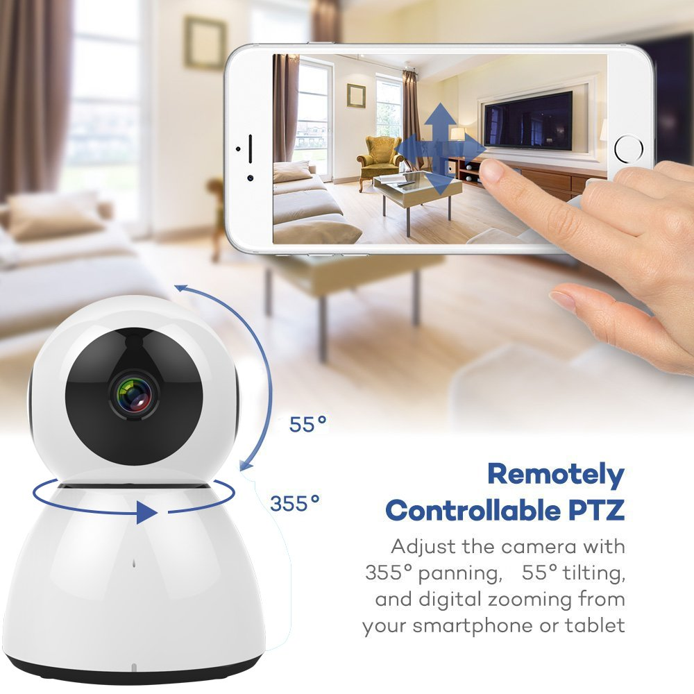 Home Security Camera, HD 1080P WiFi IP Camera, 2 Way Audio,Night Vision, Baby, Pet Security (White) by VTC (Image #6)