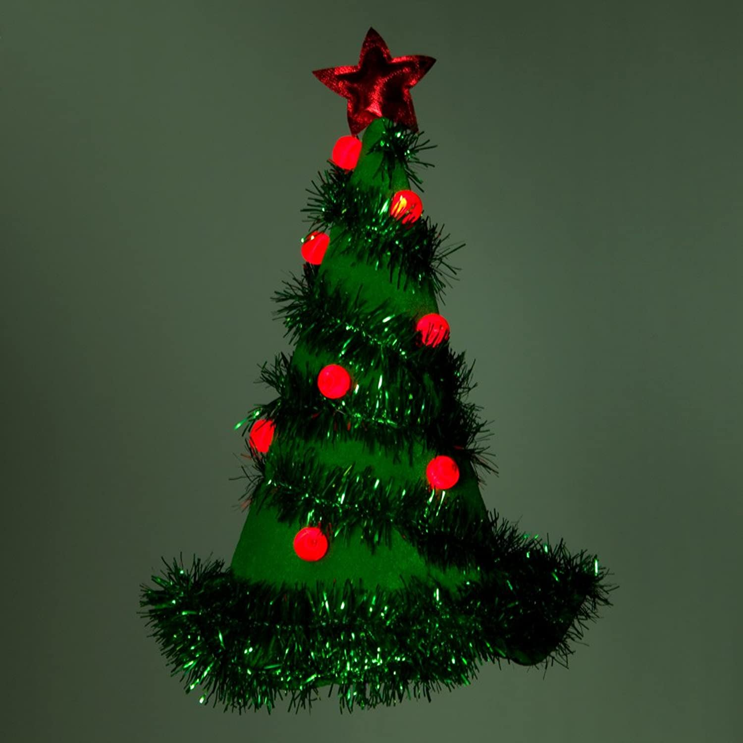 Amazon.com: Light Up Christmas Tree Hat - Green Pkg/ (1): Clothing
