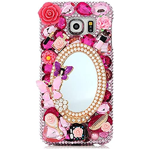 Samsung Galaxy S7 Active Bling Case - Fairy Art Luxury 3D Sparkle Series Girls Butterfly Cosmetic Mirror Flowers Sales
