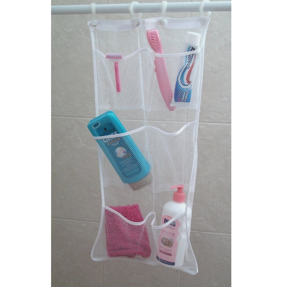 Amazon.com: Mesh Shower Caddy. Mesh Shower Organizer With 6 Pockets. Hang  On Shower Curtain Rod / Liner Hooks. Quick Dry Hanging Organizer.