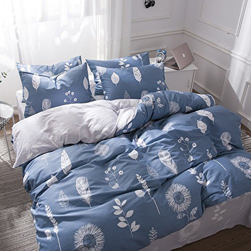 Autumn Leaf Pattern (VM VOUGEMARKET Blue Bedding Duvet Cover Set King Feather Pattern,Reversible Cotton Leaf Flower Printed Duvet Cover with Zipper Closure,Lovely Lightweight Bedding Set(King,Midnight))