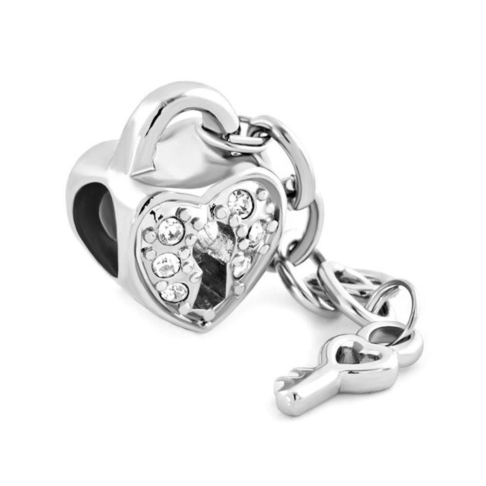 Sug Jasmin Key to my Heart charm lucchetto e chiave per perline braccialetti