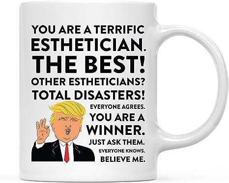 Amazon Com Andaz Press 11oz Funny President Trump Coffee Mug Gag Gift Esthetician 1 Pack Includes Gift Box Christmas Birthday Graduation Novelty Drinking Cup Gift Ideas Kitchen Dining