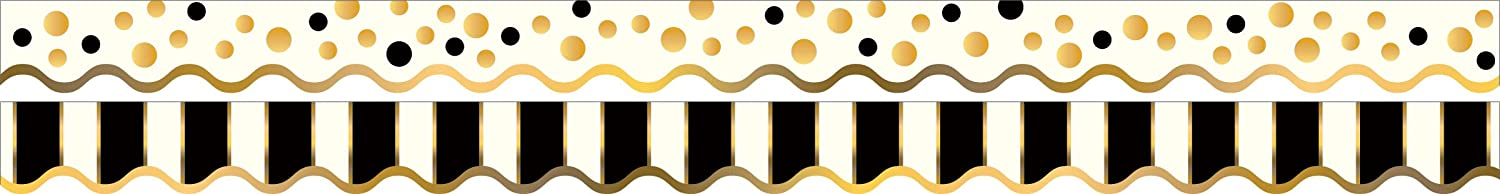 Barker Creek - Office Products Double-Sided Bulletin Board Border Scalloped Edge, Gold Bars, 39' (LL-902)