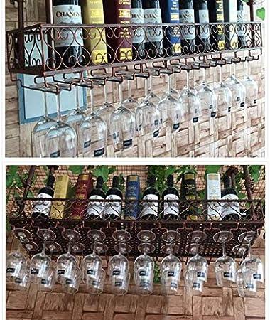 DJSMjbj Unidad De Bar Estantes Flotantes Estantes para Vino Montados En La Pared, Soporte para Copa De Vino Colgante Rústico Estante De Almacenamiento Estantes Decoración Estilo Vintage Aplicación