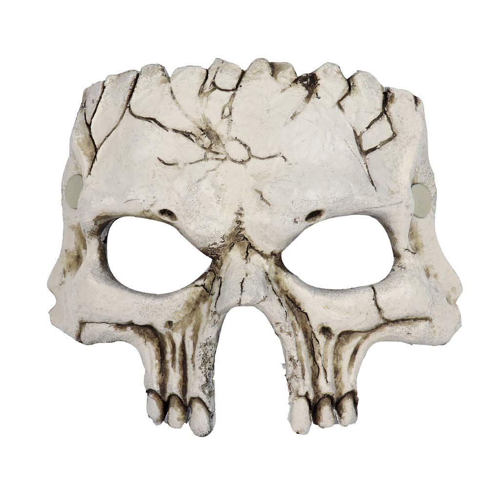 mywaxberry Halloween Novelty Deluxe Mask Party PU Skull Venetian Masquerade Half Face Mask White
