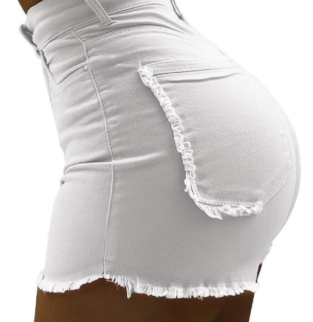 GRMO Women Summer Solid Slim Fit Fashion Cut Off Bodycon Denim Shorts Jeans