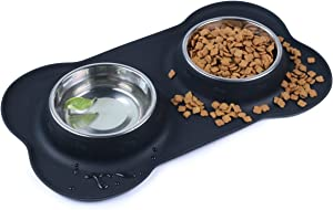 Pet Deluxe Dog Bowls Stainless Steel Dog Bowl with Non Spill Skid Resistant Silicone Mat 24/54 oz Double Pet Bowls Feeder Bowl for Dogs Cats and Pets