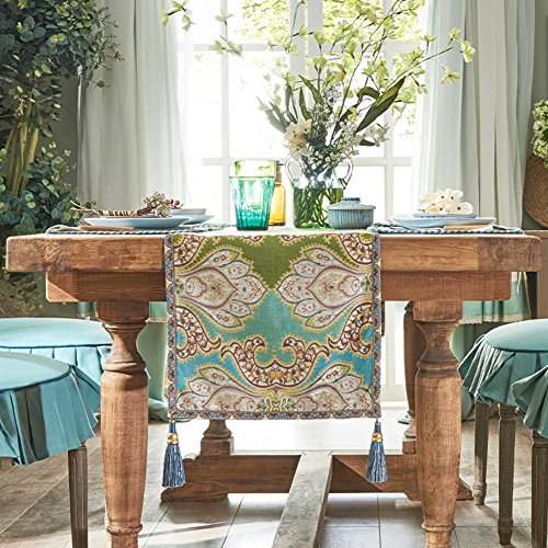 JINGJIE Restaurant Dining Table Decoration Table Runner,Flax Jacquard  Chinese Style Modern Table Runner Tea