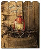 Light the World 9x12 Picket Fence Wood Sign