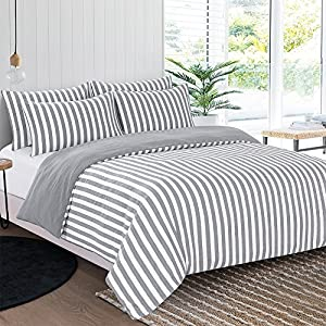 Gray Duvet Cover, 3Pcs Stone Washed Yarn Dyed Duvet Covers Simple Stylish Striped Bedding Set -Queen