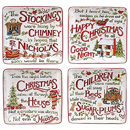 Certified International 'The Night Before Christmas' 6-inch Canape Plate with Assorted Designs (Pack of 4)