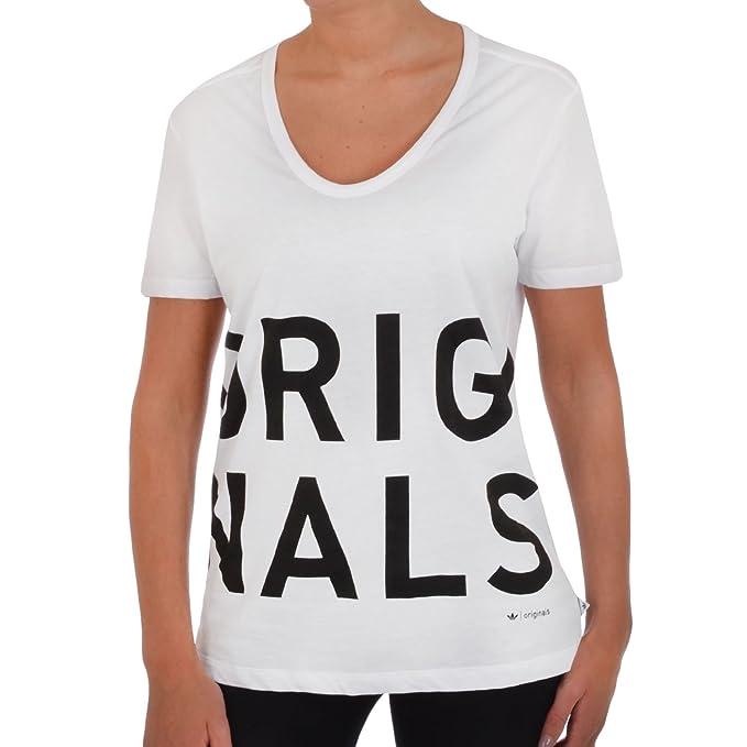 adidas Originals - Camiseta Mujer - Manga corta Escote de pico - Blanco - 32