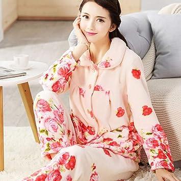 50c53fa3973e SALICEHB Pijamas De Las Mujeres del Otoño Fija El Collar Turn-Down Femenino  Ropa De Noche Completa para Los Pijamas De Las Mujeres Trajes del Hogar del  ...