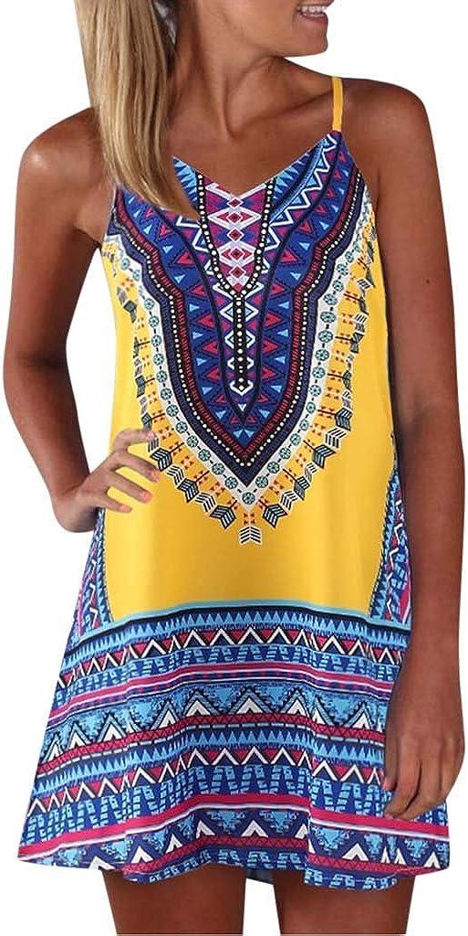 Women Dresses,Chanyuhui Ladies Teen Girls Bohemian Color Block A Line African Sleeveless Beachwear Mini Dress