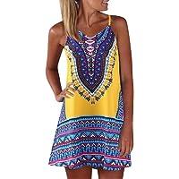 QIjinlook 💖Vestido Tirantes Boho Mujer💖,Vestido Playero Mujer/estido Corto Mujer/Vestido Hombro Descubierto Mujer/Vestido Tirantes Corto/Vestidos Verano Mujer/Vestido