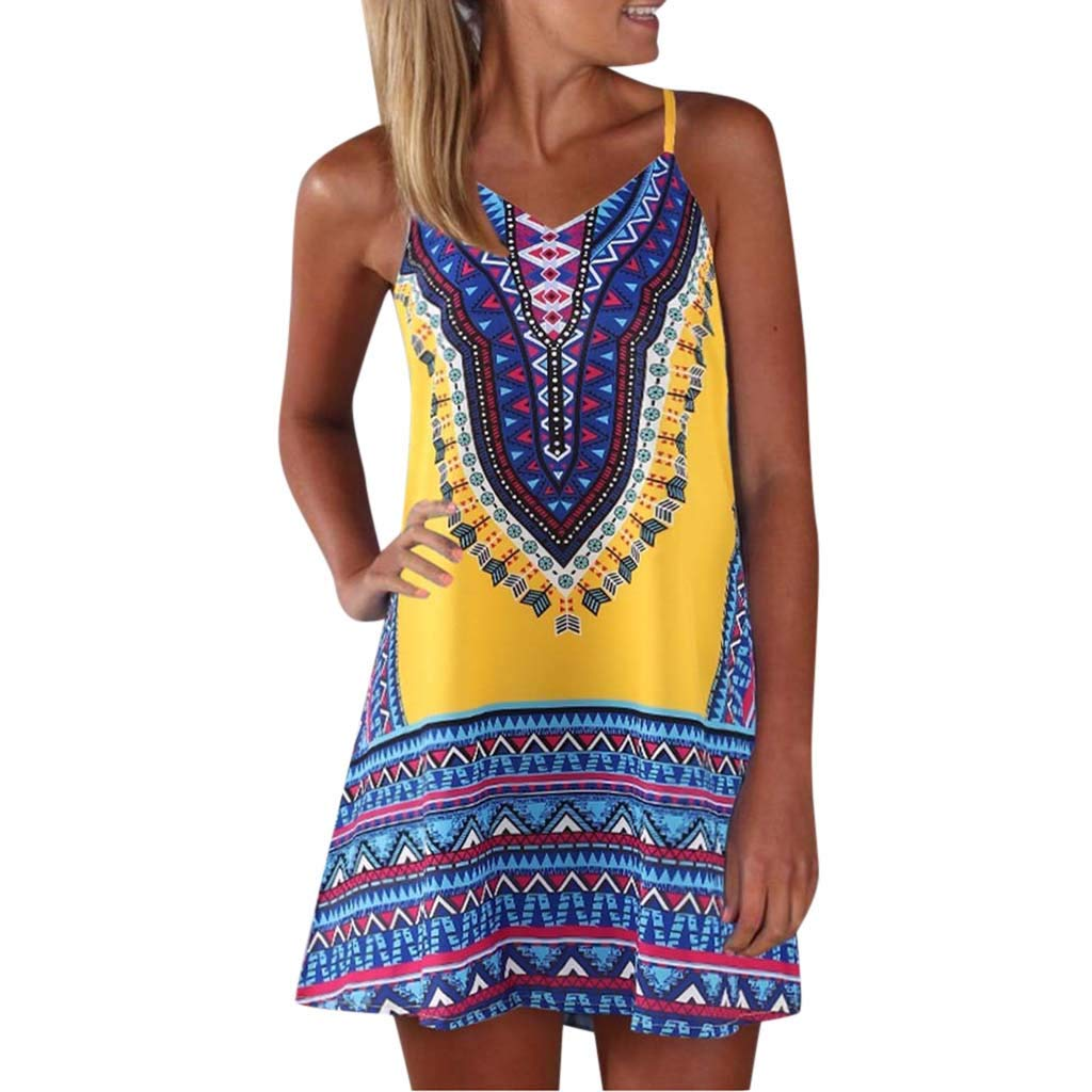 Womens Vintage Printed Vest Dress Summer Sleeveless V Neck Color Block Shirt Mini Sundress  (S, Yellow)
