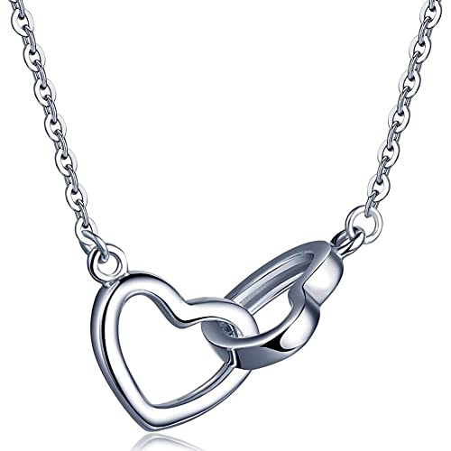 334ced280 925 Sterling Silver Open Love Double Heart - Rose Gold Y Pendant Necklace  Gift for Girlfriend