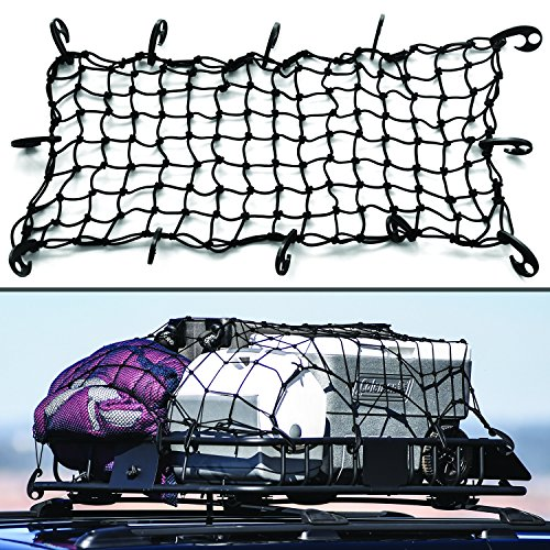 16 X32  Super Duty Bungee Cargo Net Stretches To 32 X64    Small 2 X2  Mesh Holds Small And Large Loads Tighter   12 Adjustable Hooks   For Rooftop Cargo Carrier  Atv  Utv  Cargo Hitch