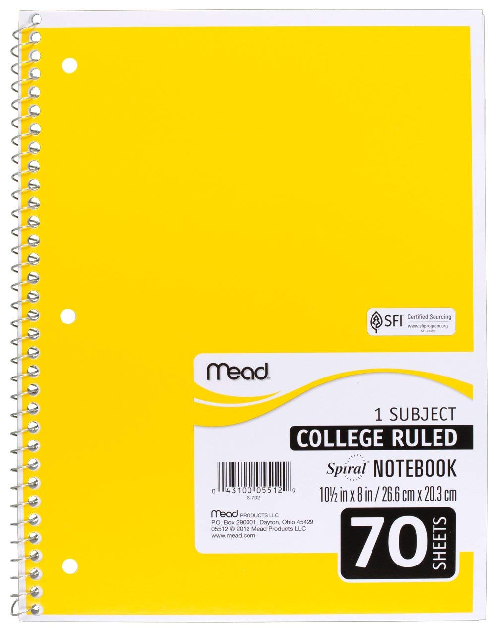 Mead SLTYGJHJ Spiral Notebooks, 1 Subject, College Ruled Paper, 70 Sheets, 10-1/2'' x 7-1/2'', Assorted Colors, 6 Pack (73065) 36 Pack by Mead (Image #7)