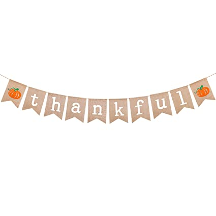 Thankful Burlap Banner Rustic Thanksgiving Wall Banner Fall Bunting Banner For Fireplace Or Mantle Thanksgiving Day