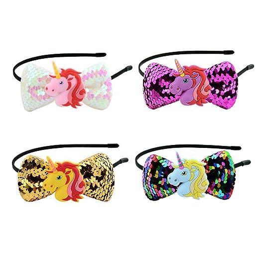 Amazon.com: Pack de 4 diademas de unicornio arcoíris para ...