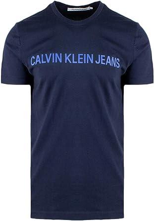 Calvin Klein Jeans Hombre Camiseta Institucional Slim, Rojo: Amazon.es: Ropa y accesorios
