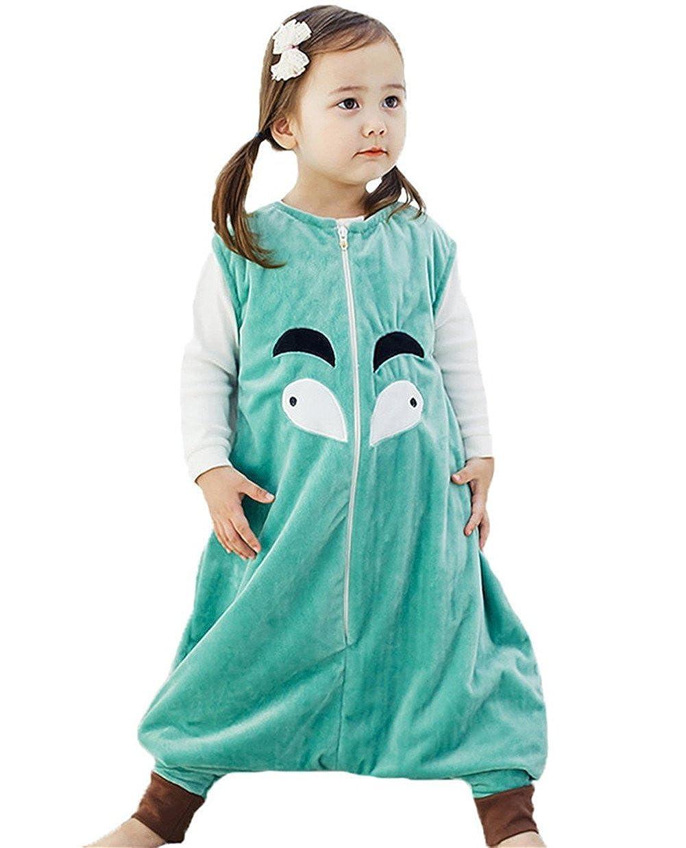 Ruiying Kleinkind Kids 1-7Y Sleep and Play-Blanket Schlafsack Cotton Jumpsuits Overall Bauwolle nachtwä sche Unisex Schlafanzug Jungen Mä dchen (M(3-5 Jahre), Grü n)