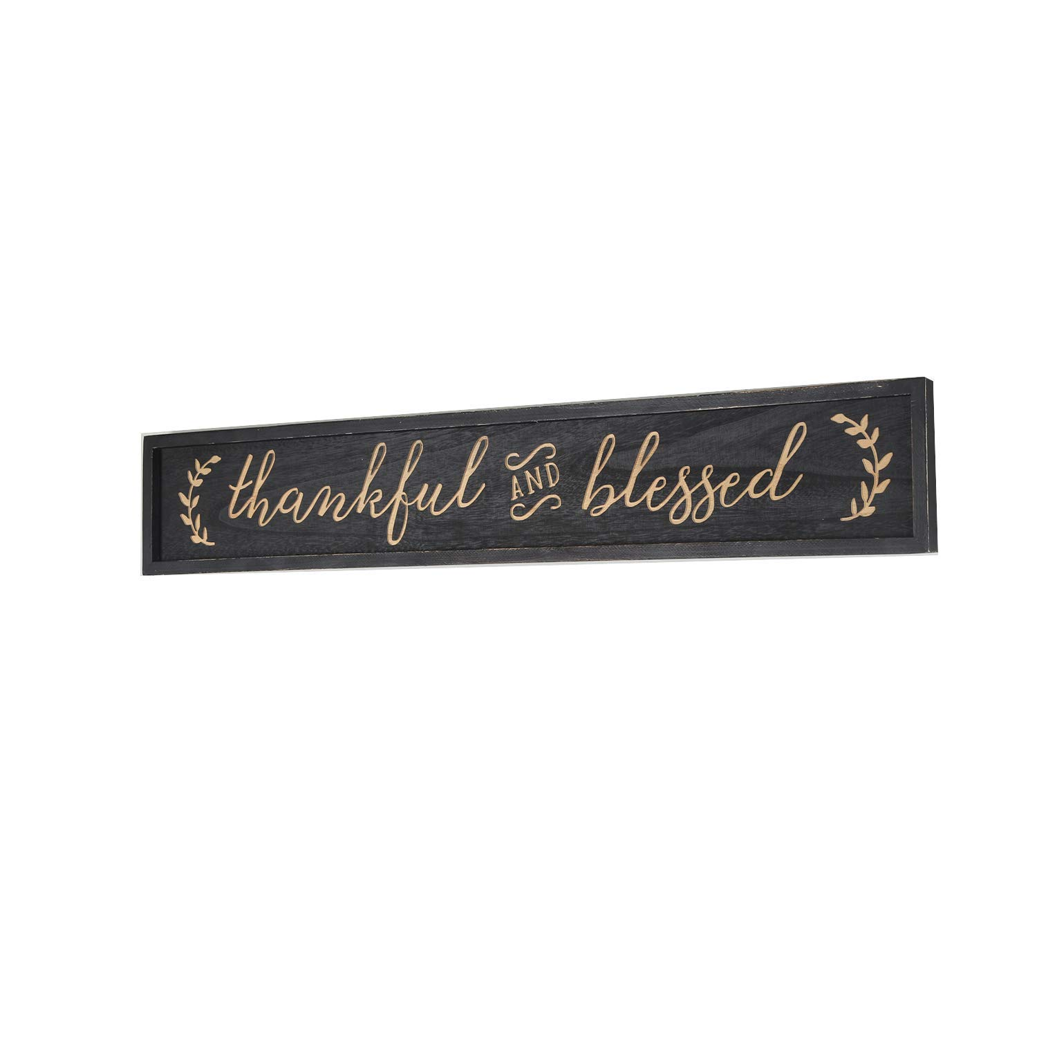 Black NIKKY HOME Thankful and Blessed Carved Wood Framed Wall Plaque Sign with Inspirational Quote 36 x 9