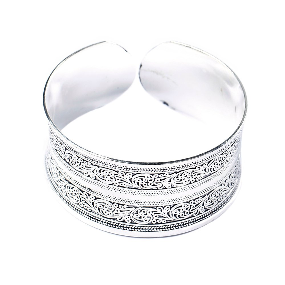 BODYA Classic Tibet Silver Carved Lucky Totem Flower Old Bangle Filled Wide Engrave Cuff Bracelet JW1063