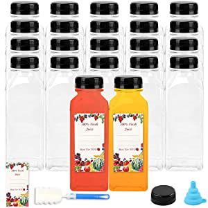 22pcs 12oz Empty Plastic Juice Bottles with Lids, Reusable Clear Containers with Black Tamper Evident Caps for Juice, Milk and Other Beverages