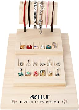 Amazon Com Natural Beige New Zealand Pine Wood Counter Top Jewelry Display For Pandora Style Beads Fixture Organizer Storage For Charms Bracelets Home Improvement