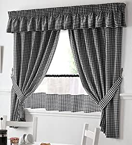"BLACK AND WHITE GINGHAM KITCHEN CURTAINS 46""X48"" PELMET & 18"" CAFE PANEL"