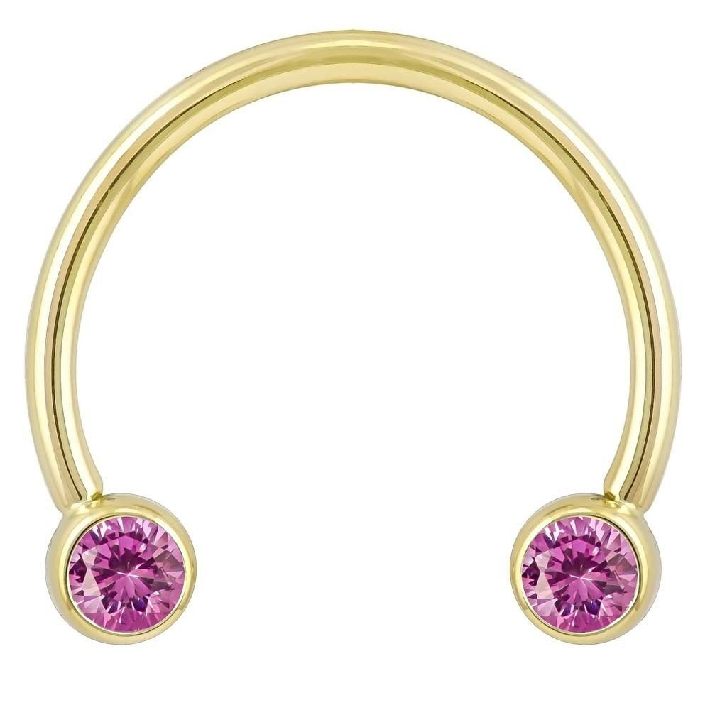FreshTrends 4mm Purple Round Bezel CZ 14K Yellow Gold Circular Barbell 14G 1//2
