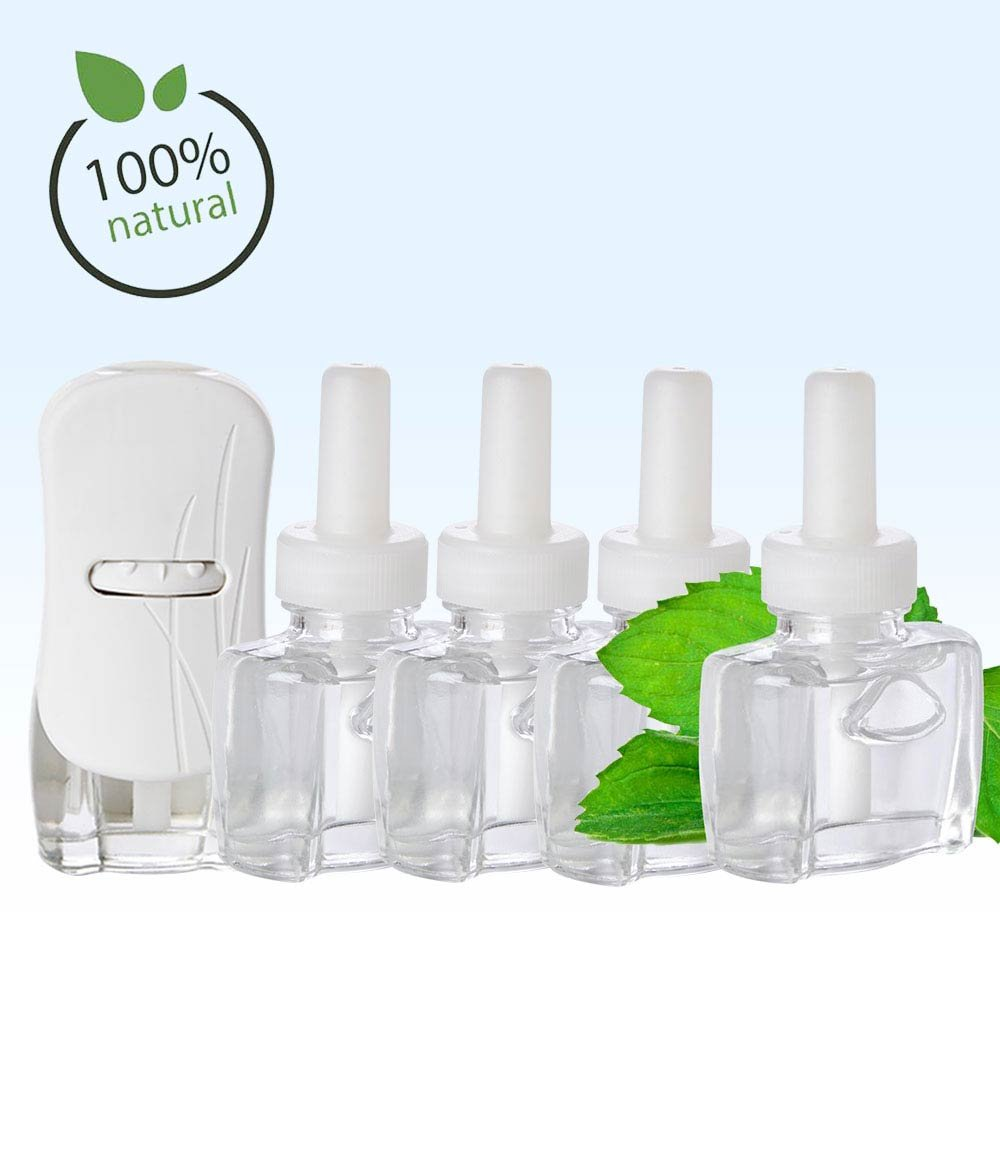 (4 Pack) 4 Scent Fill® Brand 100% Natural Peppermint Refills and (1) Glade® Warmer