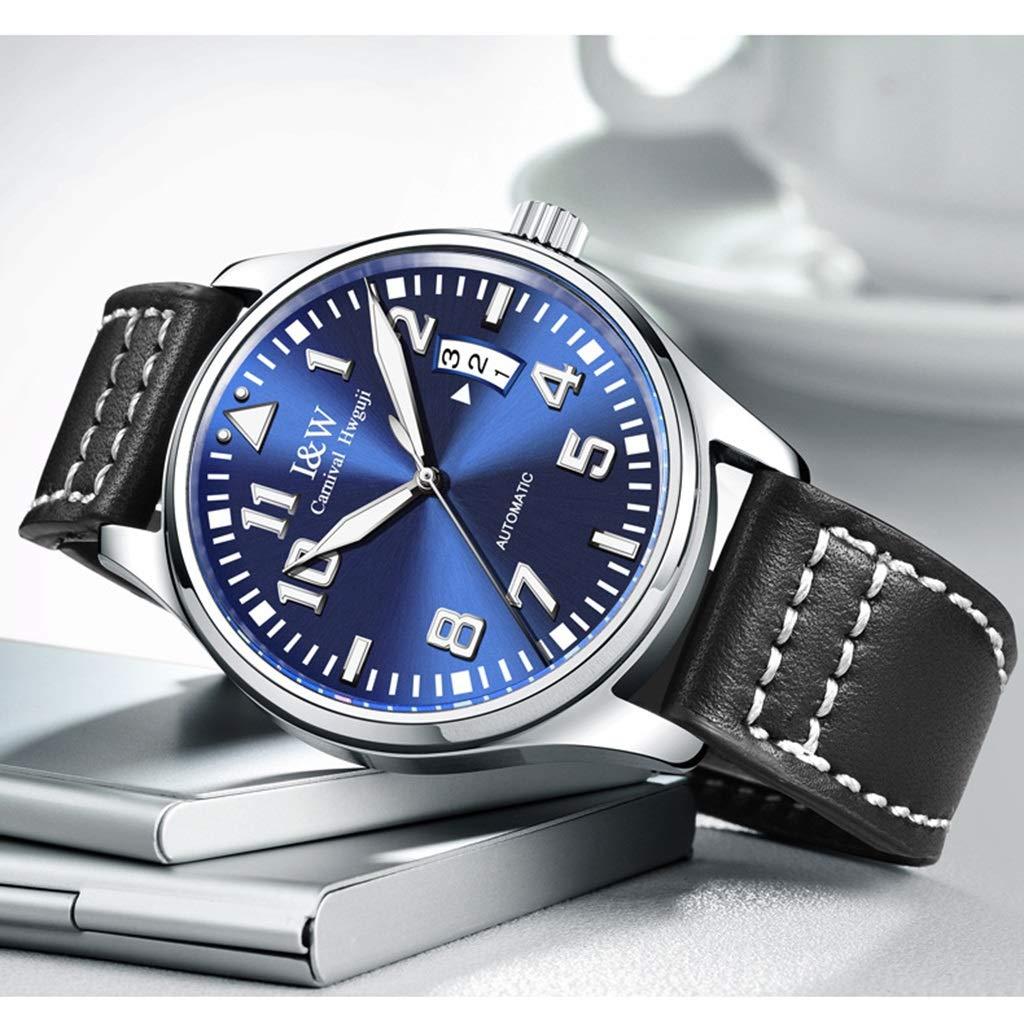 CARNIVAL herrklocka, mode casual automatiska mekaniska klockor med datumvisning lysande vattenresistens armbandsur 8777G Silver Blå