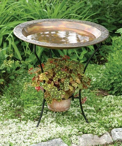 Copper Plated Steel Bird Bath