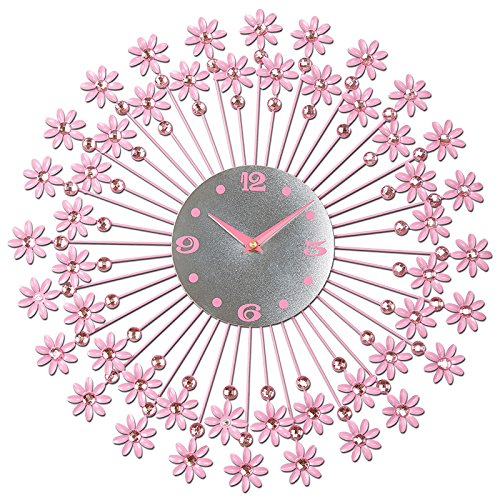 Living room ideas simple, decorative clocks and European silent clock bedroom modern round pink wall clock 44cm