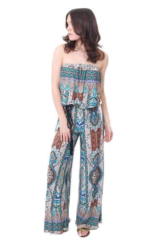 Ariella Jumpers Strapless Belted Lightweight Brown Paisley Jumpsuit - Brown/Teal - L