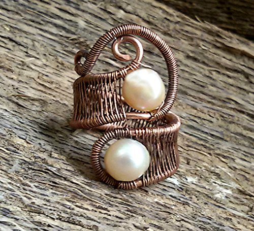 Copper wire and Peach pearl ring, Wire wrapped jewelry handmade, pearl ring, gift ideas for women