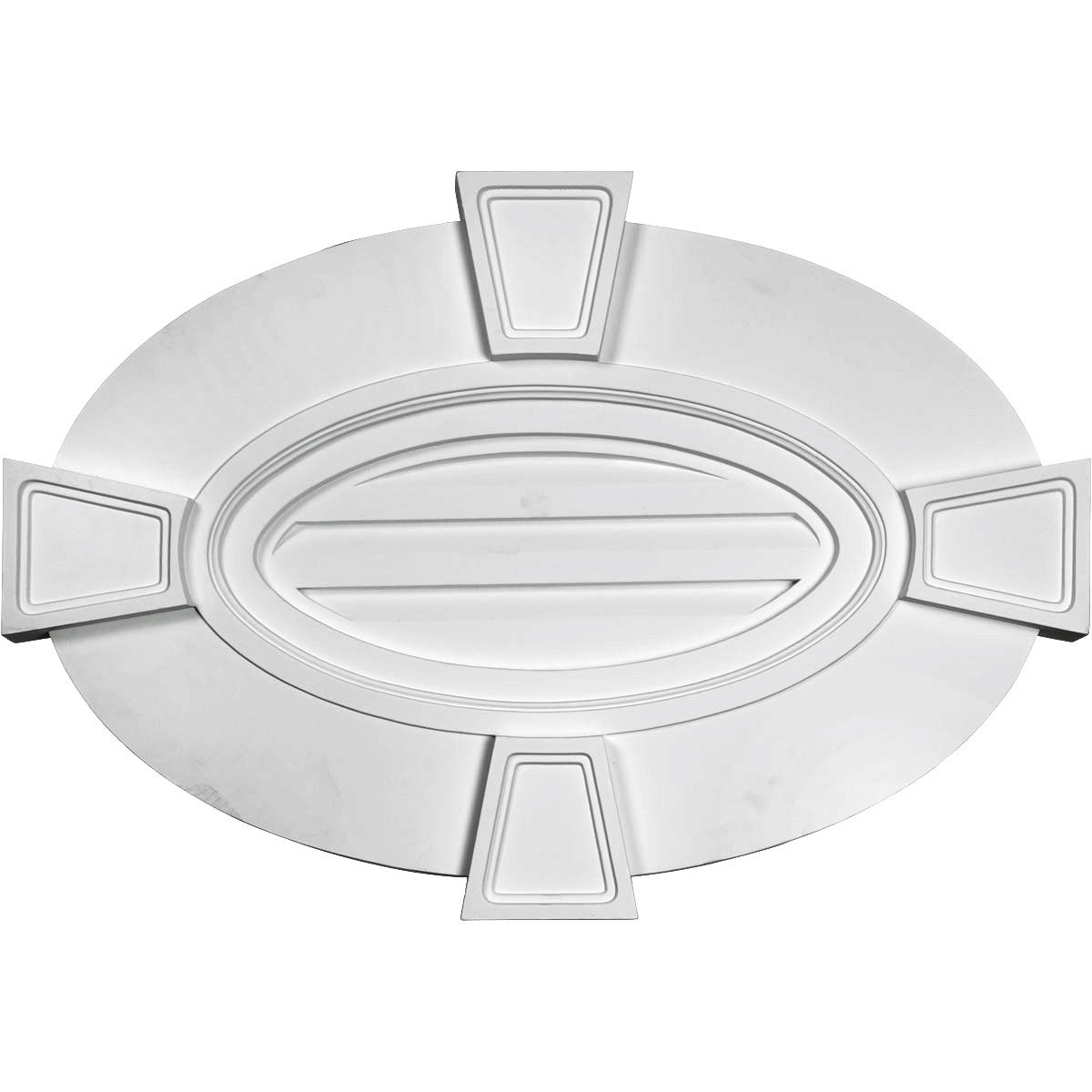 Ekena Millwork GVOV29X20D 29-Inch W x 20-Inch H x 1 3/4-Inch P Horizontal Oval Gable Vent Louver with Flat Trim  and  Keystones, Decorative