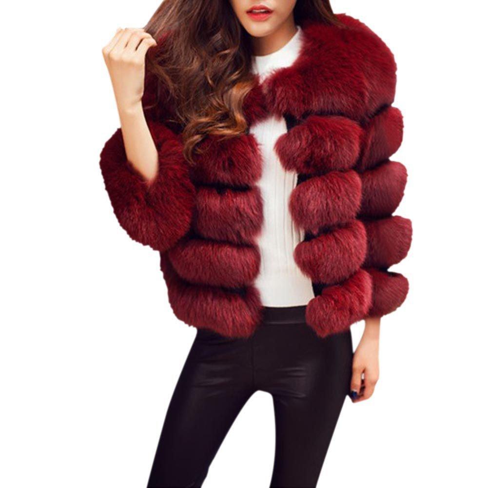 Women Faux Fox Fur Jacket - Luxurious Thick Short Coat Warm ...