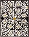"Carrara Floral Yellow & Grey Mosaic Area Rug 5 x 7 (5'3"" x 7'3"") Modern Geometric Tile"