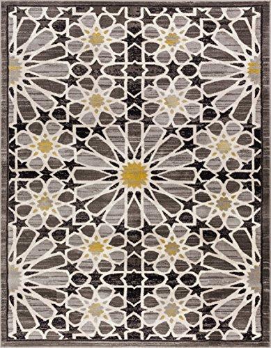Carrara Floral Yellow & Grey Mosaic Area Rug 4 x 6 (3'11