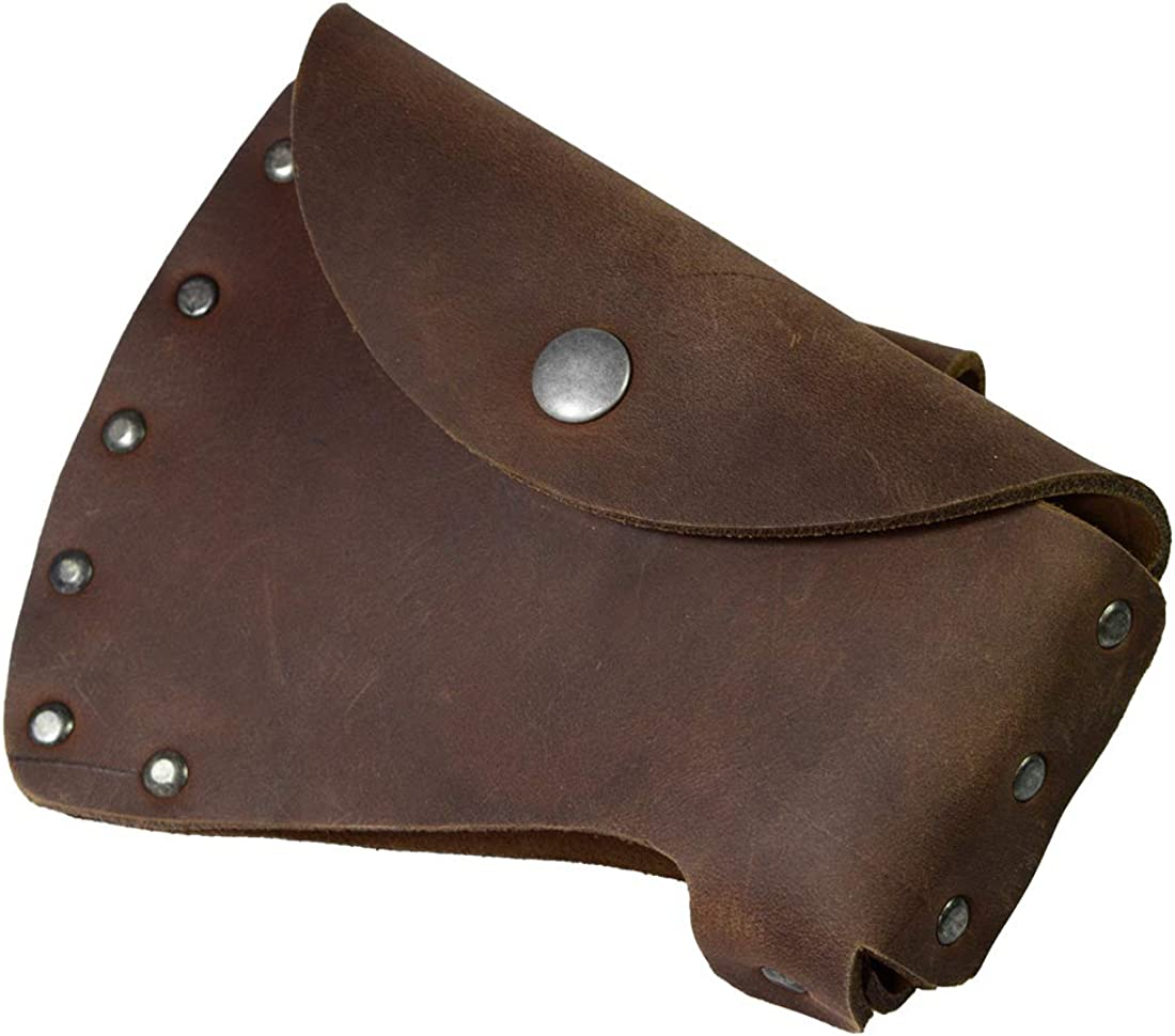 Hide & Drink, Durable Leather Hatchet Head Sheath Holster for 1.5 in. Belts, Axe Case, Blade Cover, Lumberjack Outdoors Work Essentials, Handmade Includes 101 Year Warranty :: Bourbon Brown