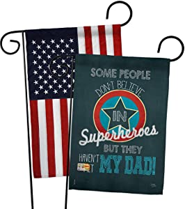 """Breeze Decor Superhero Dad Garden Flag Pack Family Father's Day Daddy Papa Grandpa Best Parent Sibling Relatives Grandparent Applique House Banner Small Yard Gift Double-Sided, 13""""x 18.5"""", Made In USA"""