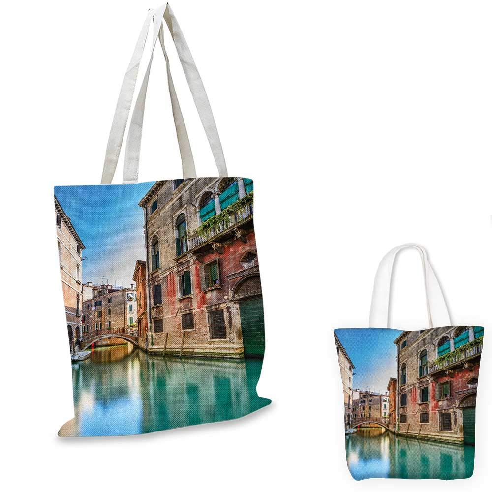 Venice canvas messenger bag Traditional Italian Water Canal Romantic Cityscape Famous Travel Destination canvas beach bag Teal Red Grey 12x15-10