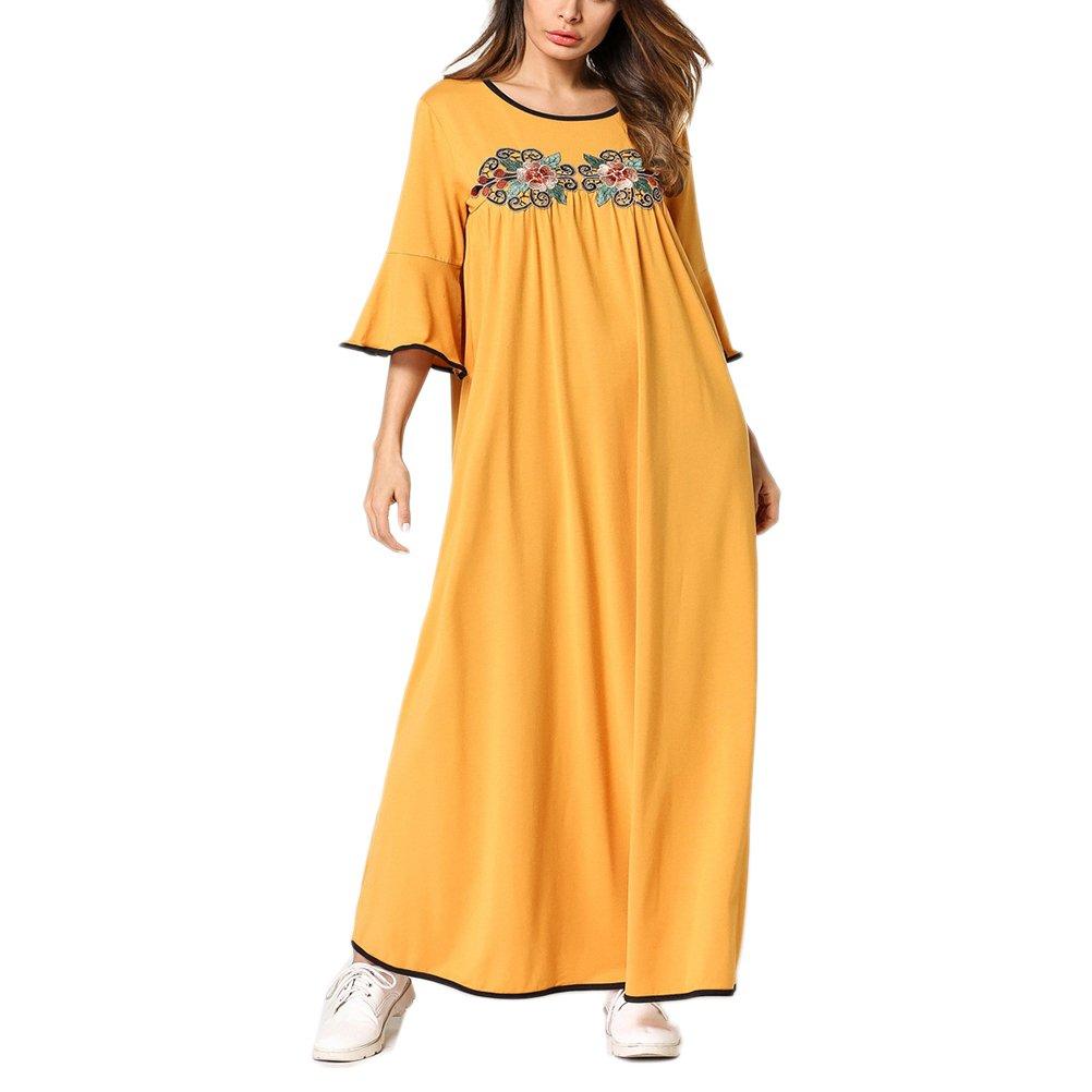 Zhhlinyuan Modesto Vestido de Traje árabe Mujer Farasha Vestidos de Kaftan Marroquí para Mujeres Casual Dubai: Amazon.es: Ropa y accesorios