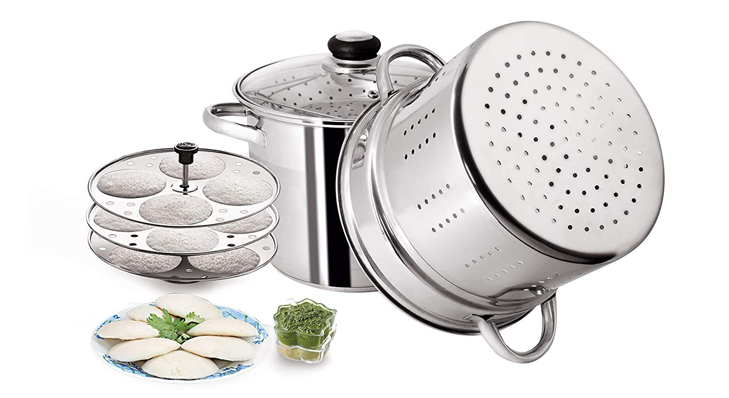 PRISTINE Stainless Steel Tri Ply Induction Compatible Multi Purpose Steamer with Idli Plates, 5 qt./4.75 Liters Steamers   Idli Makers