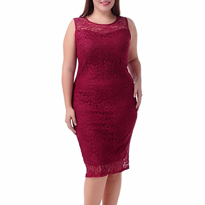 Samtree Womens Plus Size Office Cocktail Party Floral Lace Pencil Sheath Dress (UK 18 fit